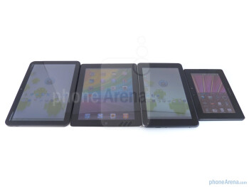 Left to right - Motorola XOOM, Apple iPad 2, T-Mobile G-Slate, RIM BlackBerry PlayBook - T-Mobile G-Slate vs BlackBerry PlayBook vs Apple iPad 2 vs Motorola XOOM
