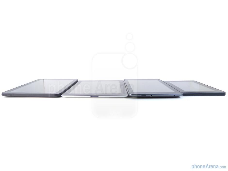 Left to right - Motorola XOOM, Apple iPad 2, T-Mobile G-Slate, RIM BlackBerry PlayBook - T-Mobile G-Slate vs BlackBerry PlayBook vs Apple iPad 2 vs Motorola XOOM