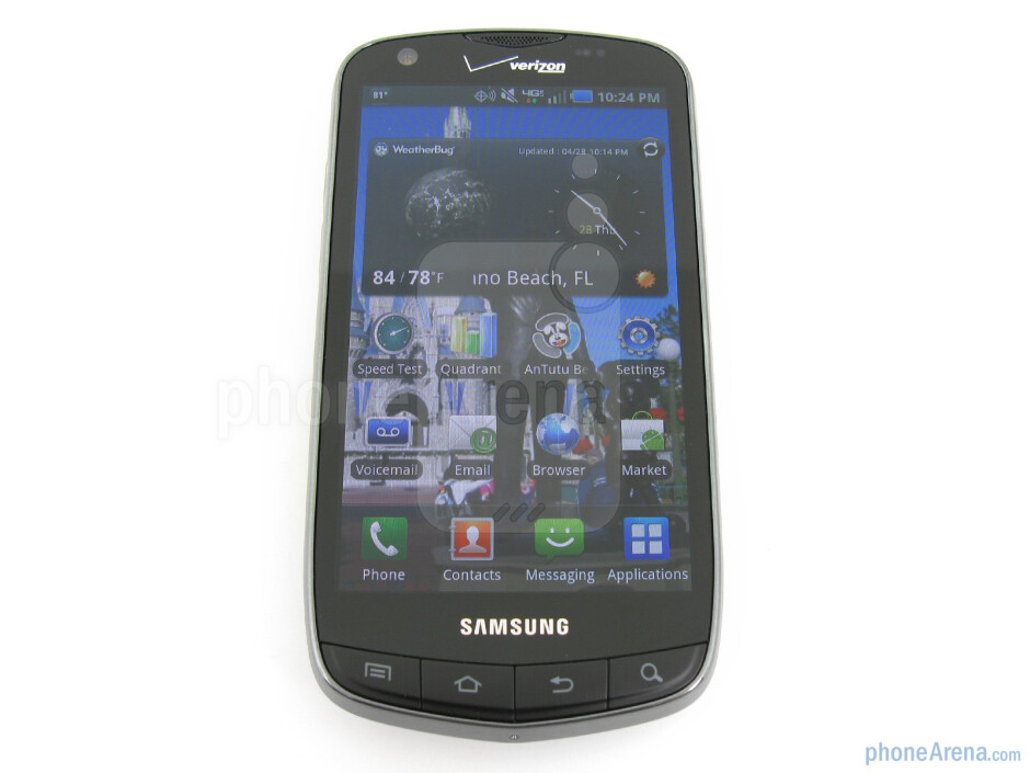 """The phone has 4.3"""" WVGA resolution Super AMOLED Plus display - Samsung Droid Charge Review"""
