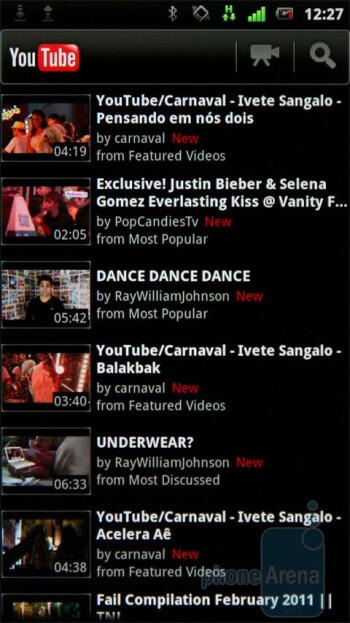The YouTube app - Sony Ericsson Xperia neo Review
