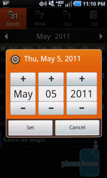 The Calendar of the Samsung Droid Charge - Samsung Droid Charge Review