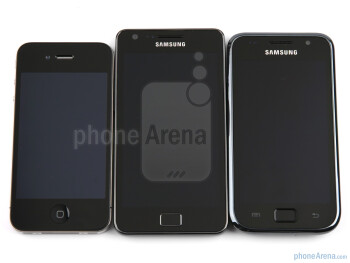 Apple iPhone 4 (left, top), Samsung Galaxy S II (center),Samsung Galaxy S (right, bottom) - Samsung Galaxy S II Review