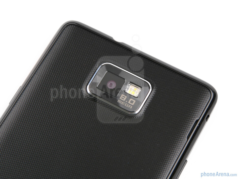 The etched edges of the 8MP camera area on the back are the only thing that sticks out of the chassis - Samsung Galaxy S II Review