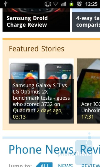 Surfing the web with the Samsung Galaxy S II - Samsung Galaxy Nexus vs Samsung Galaxy S II