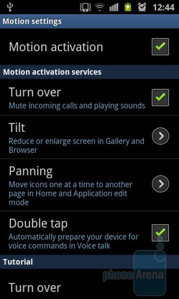 Motion settings - Samsung Galaxy S II Review