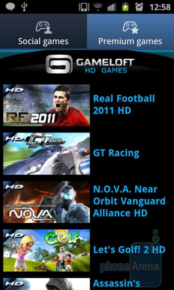 Games Hub - Samsung Galaxy S II Review