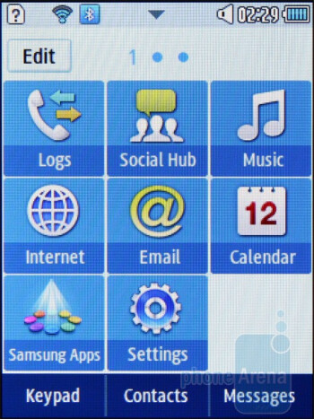 The TouchWiz interface of the Samsung Corby II - Samsung Corby II Review