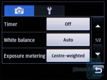 Camera interface - Samsung Corby II Review