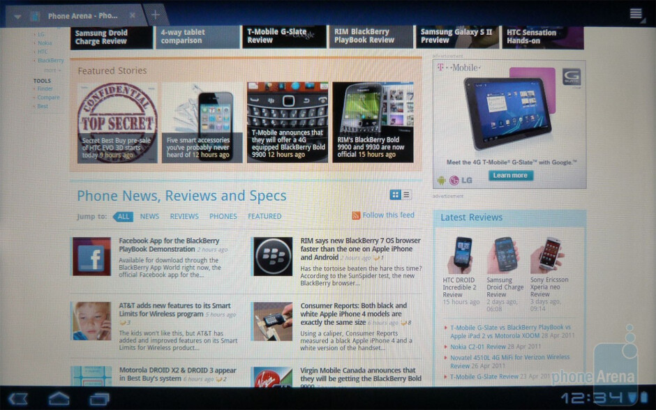 Surfing the web with the Acer ICONIA TAB A500 - Acer ICONIA TAB A500 Review