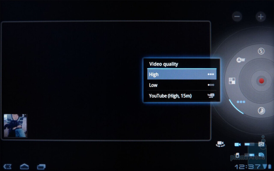 Video camera interface - Acer ICONIA TAB A500 Review