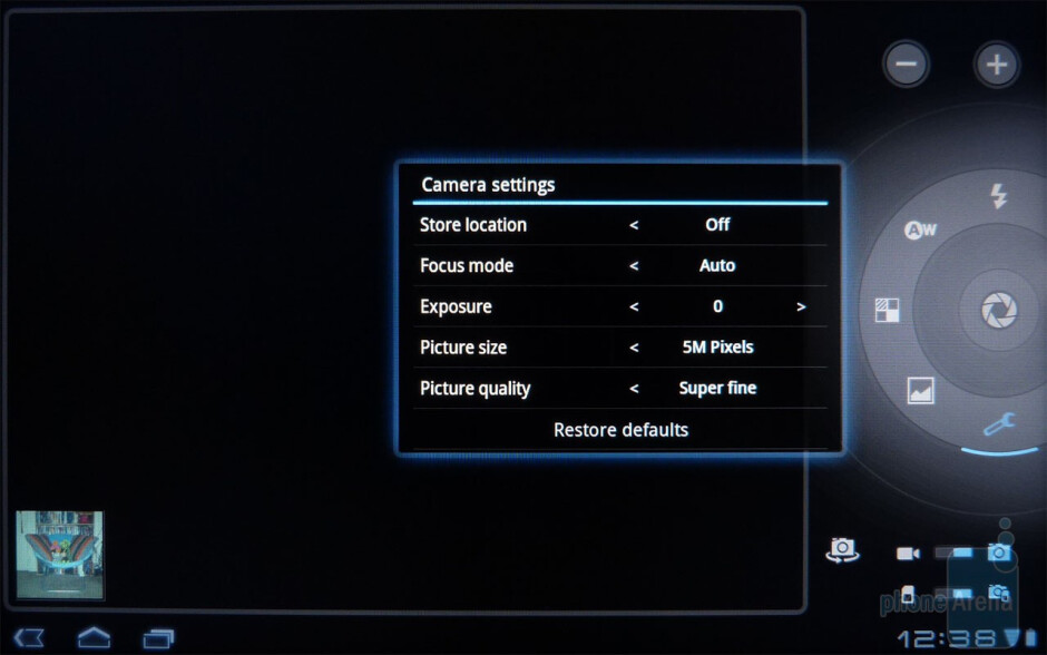 The camera interface of the Acer ICONIA TAB A500 - Acer ICONIA TAB A500 Review