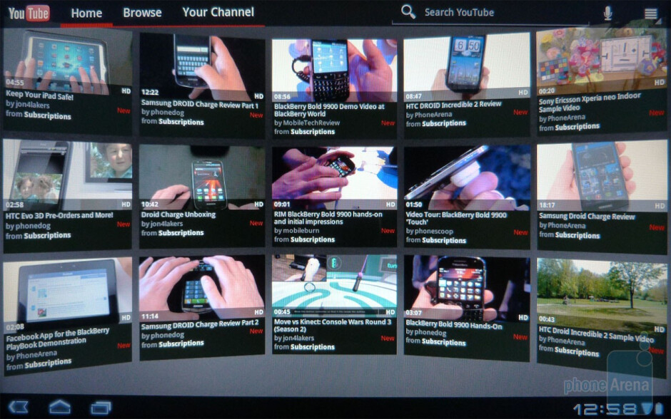 YouTube app - Acer ICONIA TAB A500 Review