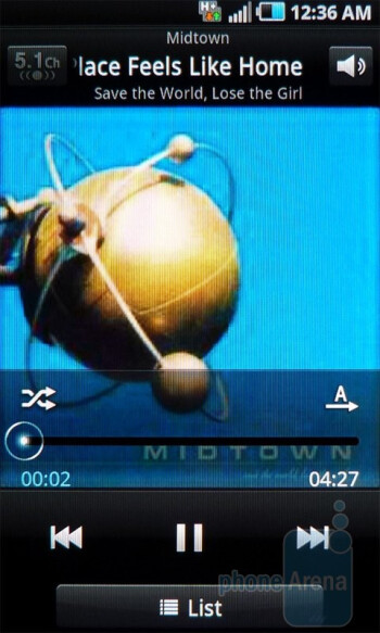Music player - Samsung Infuse 4G Review