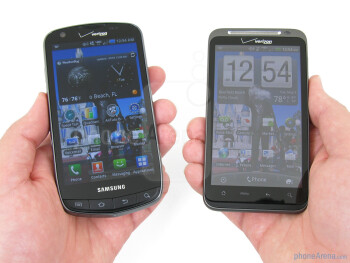 The Samsung Droid Charge (left,bottom) and the HTC ThunderBolt (right,top) - Samsung Droid Charge vs HTC ThunderBolt