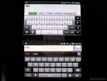 On-screen QWERTY kyeboards of the Samsung Droid Charge (bottom, left) and the HTC ThunderBolt (top, right) - Samsung Droid Charge vs HTC ThunderBolt