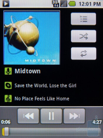 Samsung Replenish has the stock Android music player - Samsung Replenish Review