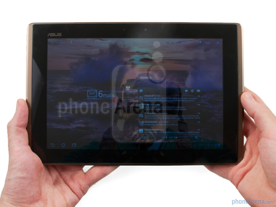 The Asus Eee Pad Transformer comes with curved ergonomic backing which has a bronze textured finish - Asus Eee Pad Transformer Review