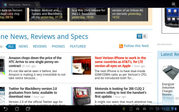 The overall web browsing experience on the the Asus Eee Pad Transformeris fittingly good - Asus Eee Pad Transformer Review