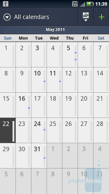 Calendar of the Motorola DROID X2 - Motorola DROID 3 vs Motorola DROID X2