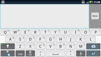 On-screen QWERTY keyboards of the Motorola DROID X2 - Motorola DROID 3 vs Motorola DROID X2