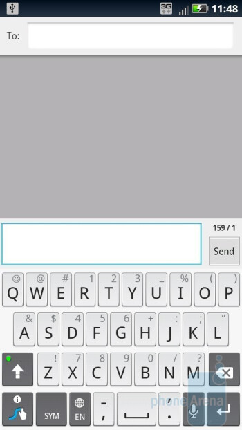 On-screen QWERTY keyboards of the Motorola DROID X2 - DROID X2 Review