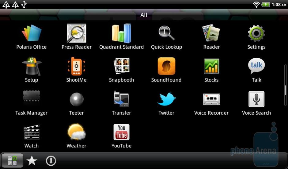 Main menu - HTC Flyer Review