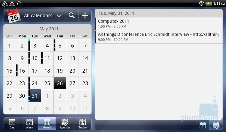 The Calendar app - HTC Flyer Review