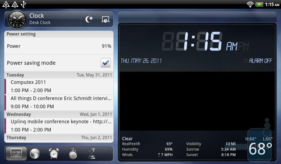 The Clock app has a tremendous overhaul - HTC Flyer Review