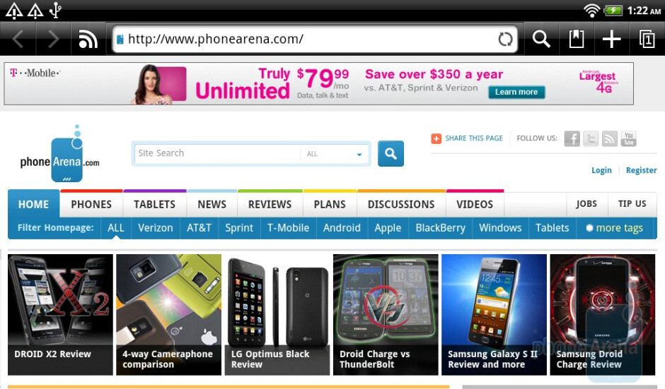 The web browsing performance on the HTC Flyer is gratifying - HTC Flyer Review