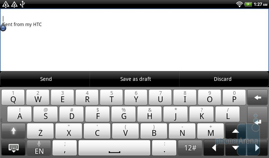 The Sense keyboard of the HTC Flyer - HTC Flyer Review
