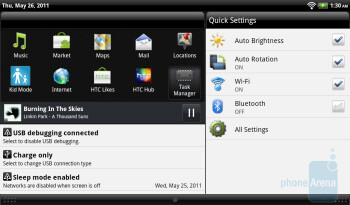 Mini player in the notifications panel - The music player - HTC Flyer Review
