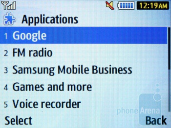 Pre-installed applications - Samsung Ch@t 335 Review