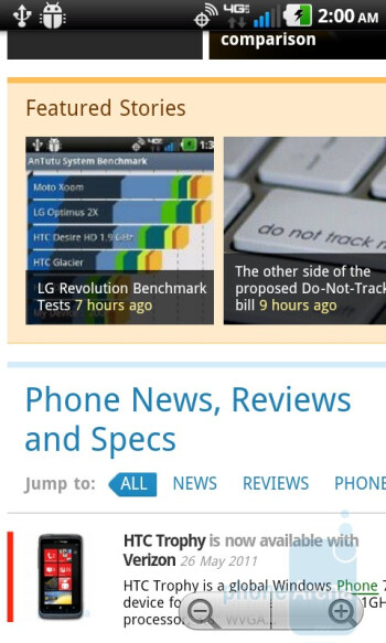 Web browsing with the LG Revolution - Motorola DROID BIONIC vs HTC ThunderBolt vs Samsung Droid Charge vs LG Revolution