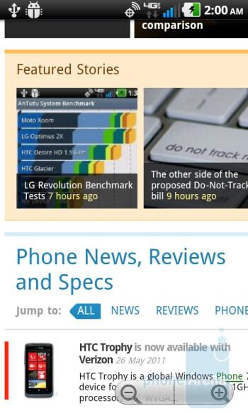 Web browsing - LG Revolution Review