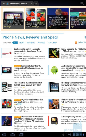Surfing the web with the Samsung GALAXY Tab 10.1 - Samsung GALAXY Tab 10.1 Preview