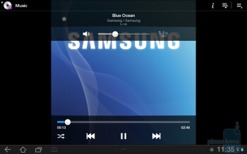 The music player - Samsung GALAXY Tab 8.9 Preview