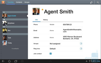 Contacts - Samsung GALAXY Tab 8.9 Preview