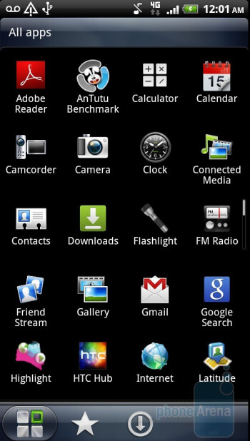 App drawer of the HTC Sensation 4G - HTC Sensation 4G Review
