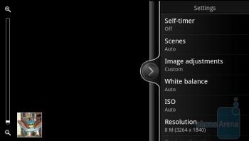 Camera interface of the HTC Sensation - HTC Sensation vs Samsung Galaxy S II