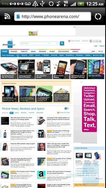 Web browsing on the HTC Sensation - HTC Sensation vs Samsung Galaxy S II