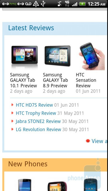 Web browsing on the HTC Sensation 4G - HTC Sensation 4G Review