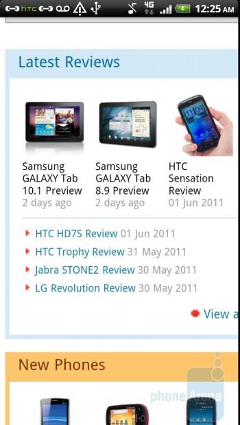 Web browsing on the HTC Sensation 4G - HTC Sensation 4G Review