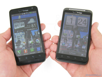 Both the LG Revolution (L) and HTC ThunderBolt (R)are rather big and bulky to hold - LG Revolution vs HTC ThunderBolt