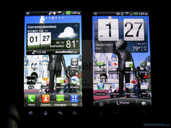 Homescreens - LG Revolution (L) and HTC ThunderBolt (R) - LG Revolution vs HTC ThunderBolt