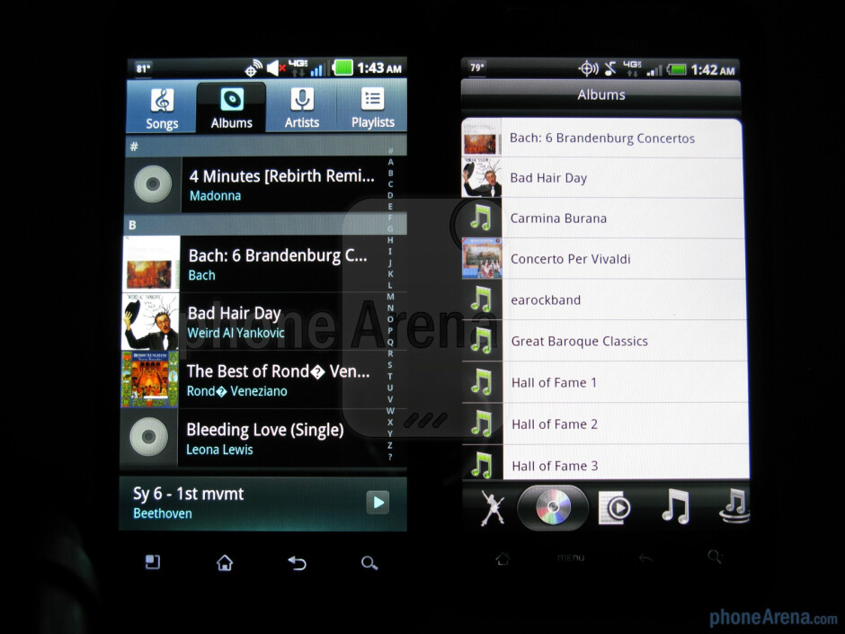 Music players of the LG Revolution (L) and the HTC ThunderBolt (R) - LG Revolution vs HTC ThunderBolt