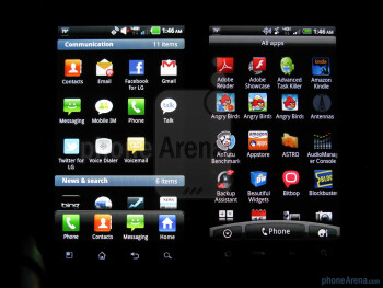 Main menus - LG Revolution (L) and HTC ThunderBolt (R) - LG Revolution vs HTC ThunderBolt