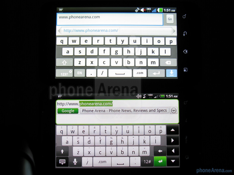 On-screen QWERTY of the LG Revolution (left, top)and the HTC ThunderBolt (right, bottom) - LG Revolution vs HTC ThunderBolt