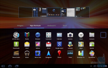 The  interface of the Samsung GALAXY Tab 10.1 - Samsung Galaxy Tab 10.1 vs Apple iPad 2