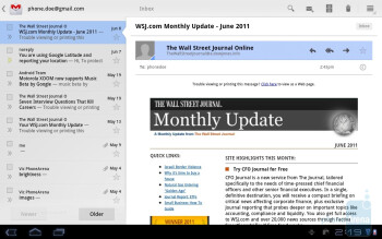 Email on the Samsung GALAXY Tab 10.1 - Samsung Galaxy Tab 10.1 vs Apple iPad 2