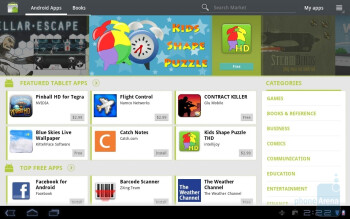 Android Market - Currently there is a very small numberof tablet-optimized apps in the Android Market - Samsung GALAXY Tab 10.1 Review